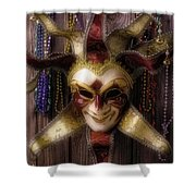 Madi Gras Mask And Beads Shower Curtain