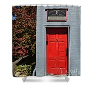 Madison Red Fire House Door Shower Curtain