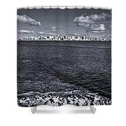 Madison Skyline - Black And White Shower Curtain