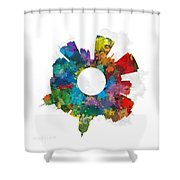 Madison Small World Cityscape Skyline Abstract Shower Curtain