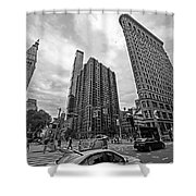 Madison Square Flatiron And Clock Tower New York Ny Black And White Shower Curtain
