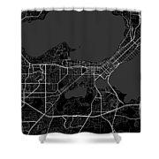 Madison Wisconsin Usa Dark Map Shower Curtain