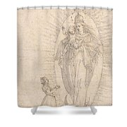 Madonna And Child Appearing To A Supplicant Shower Curtain