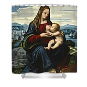 Madonna And Child Before A Landscape Shower Curtain