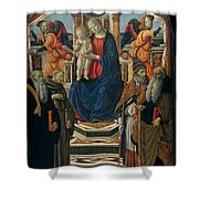 Madonna And Child Enthroned With Saints And Angels Shower Curtain