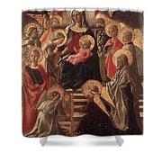Madonna And Child Enthroned With Saints Fra Filippo Lippi Shower Curtain