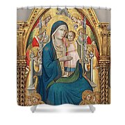 Madonna And Child Enthroned With Twelve Angels Shower Curtain