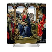 Madonna And Child Shower Curtain by Filippino Lippi
