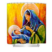 Madonna And Child Painting Shower Curtain
