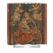 Madonna And Child Seated On A Grassy Bank With Angels Shower Curtain