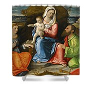 Madonna And Child With A Goldfinch With Saints Catherine And Paul Before An Extensive Landscape Shower Curtain
