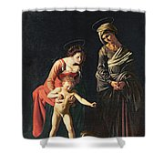 Madonna And Child With A Serpent Shower Curtain by Michelangelo Merisi da Caravaggio