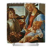 Madonna And Child With An Angel Shower Curtain