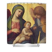 Madonna And Child With Angels Shower Curtain