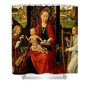 Madonna And Child With Angelsdetalj 5 Ngw Hans Memling Shower Curtain