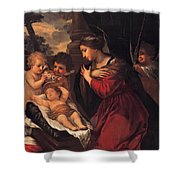 Madonna And Child With Child And Angles Shower Curtain