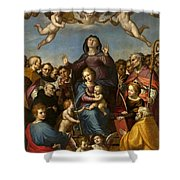 Madonna And Child With Saint Anne And The Patron Saints Of Florence Shower Curtain