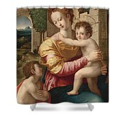 Madonna And Child With Saint John The Baptist Shower Curtain