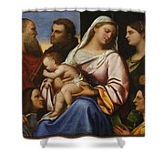 Madonna And Child With Saints And Donors Shower Curtain
