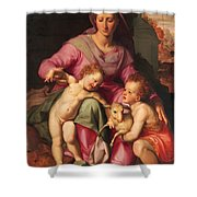 Madonna And Child With The Infant Saint John The Baptist Shower Curtain