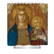 Madonna And Child With Two Angels Shower Curtain