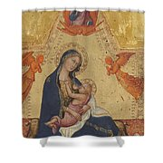 Madonna Of Humility The Blessing Christ Two Angels And A Donor Shower Curtain