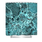 Madrid Abstract Map, Blue Traffic Map, Europe Shower Curtain