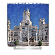 Madrid City Hall Shower Curtain by Joan Carroll