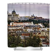 Madrid Panorama From Debod Lookout Madrid Spain  Shower Curtain
