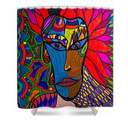 Magdalena On Fire - Mask - Abstract Face Shower Curtain