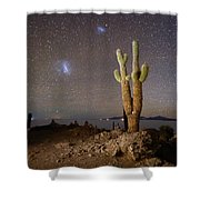Magellanic Clouds And Forked Cactus Incahuasi Island Bolivia Shower Curtain