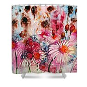 Magenta May Flowers Shower Curtain