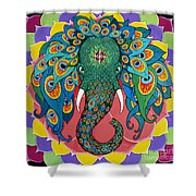 Magic Elephant Shower Curtain by Galina Bachmanova