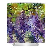 Magic In Purples And Greens Shower Curtain