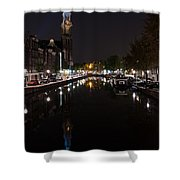 Magical Amsterdam Night - Blue Crown Skyline Shower Curtain