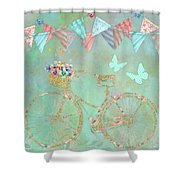 Magical Bicycle Tour Enchanted Happy Art Shower Curtain
