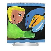 Magical Encounter Between A Boy And Creatures Of The Sea Shower Curtain