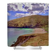 Magical Keem Beach Crowned By Clouds From Heaven Shower Curtain