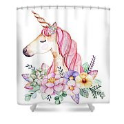 Magical Watercolor Unicorn Shower Curtain