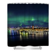 Magnificent Aurora Dancing Over Stockholm Shower Curtain