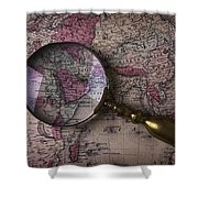 Magnifying  Glass On Old Map Shower Curtain