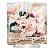 Magnolia Flowers With Pearls Shower Curtain