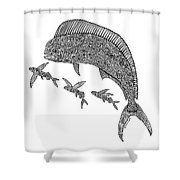 Mahi With Flying Fish Shower Curtain