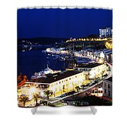 Mahon Harbour At Night Shower Curtain