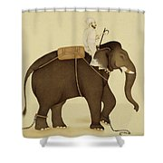 Mahout Riding An Elephant Painting - 18th Century Shower Curtain