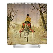 Mail Cart Christmas Shower Curtain