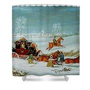 Mail Coach In The Snow Shower Curtain by John Pollard