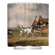 Mail Coaches On The Road - The Louth-london Royal Mail Progressing At Speed Shower Curtain