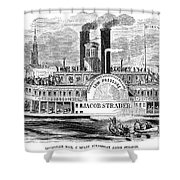 Mail Steamboat, 1854. /nthe Louisville Mail Company Steamboat Jacob Strader. Wood Engraving, 1854 Shower Curtain