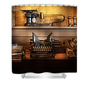 Mailman - At The Post Office Shower Curtain by Mike Savad